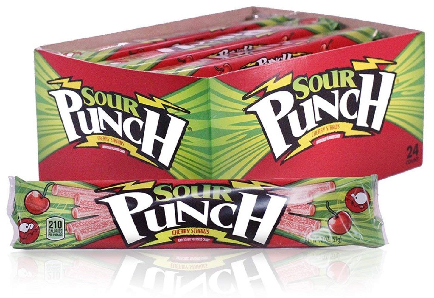 Sour Punch Straws, Cherry Fruit Flavor, Soft & Chewy Candy, 2oz Tray (24 Pack) by Sour Punch