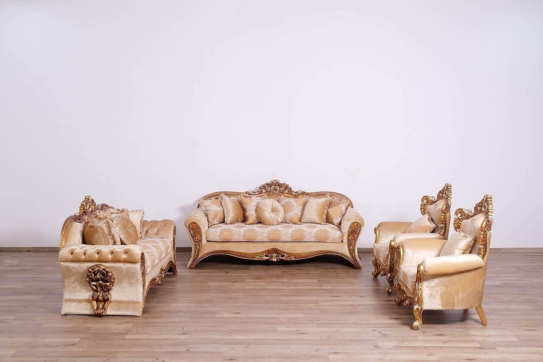 European Furniture 3 Pieces Emperador II Luxury Sofa Set
