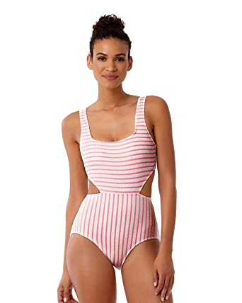 f35c7a0530c Anne Cole Studio Women's Striped Textured Sexy One Piece Swimsuit at Amazon  Women's Clothing store: