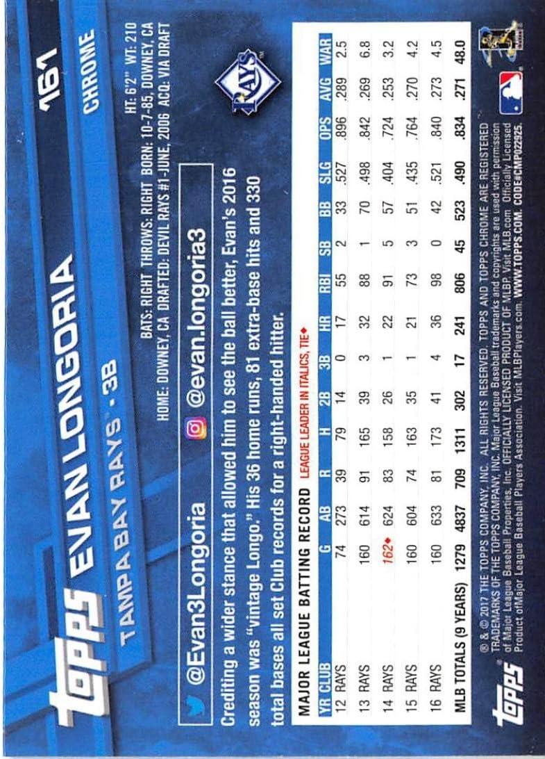 2017 Topps Chrome #161 Evan Longoria Tampa Bay Rays Baseball Card