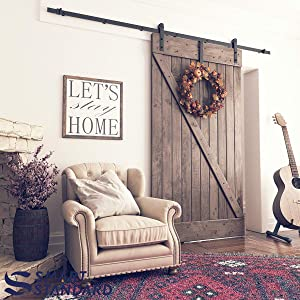 SMARTSTANDARD 9ft Heavy Duty Sturdy Sliding Barn Door Hardware Kit -Smoothly and Quietly -Easy to Install -Includes Step-by-Step Installation Instruction Fit 54