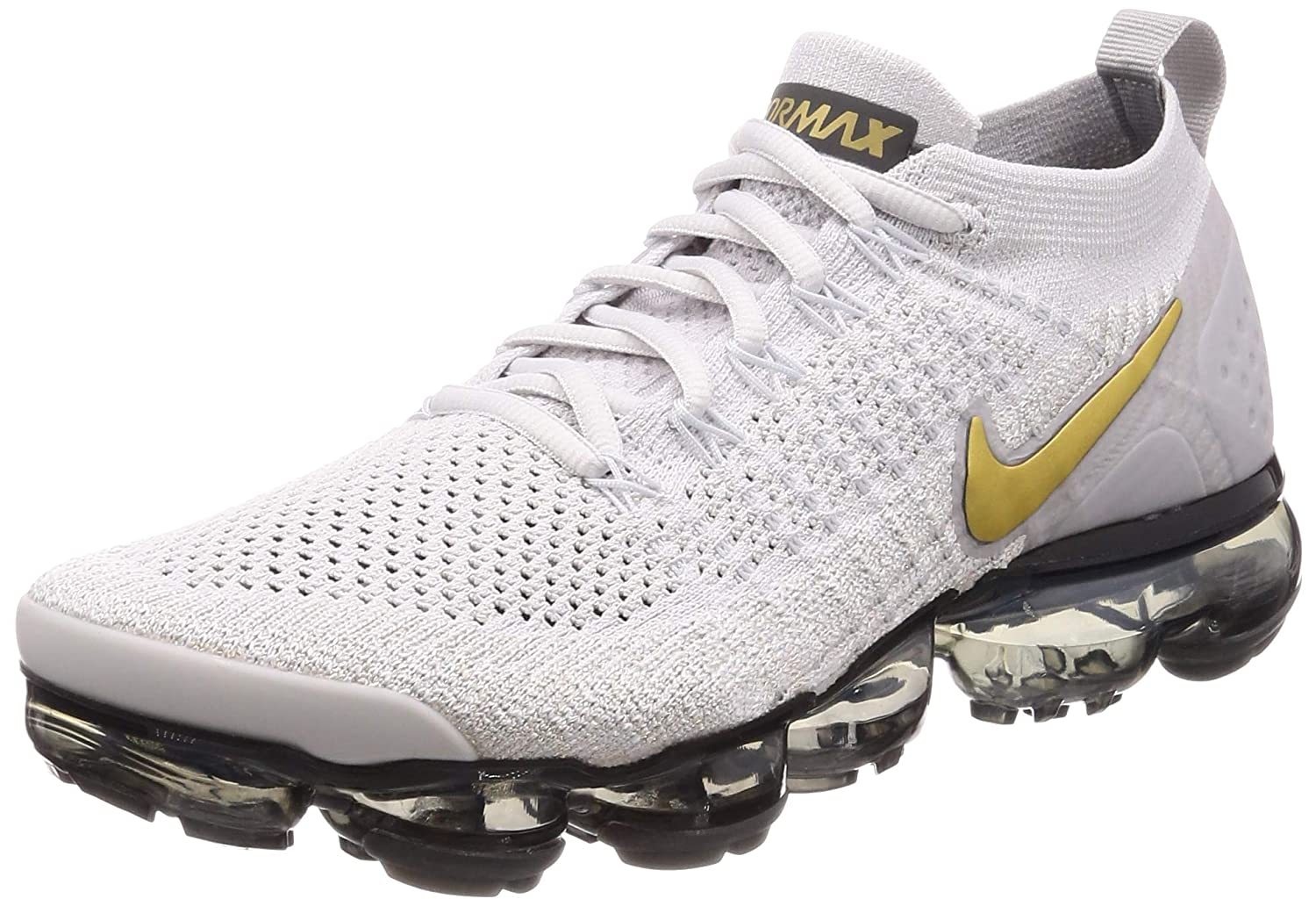 the latest 29f1a e3a48 Nike Women's Air Vapormax Flyknit 2 Running Shoes (8.5, Grey/Gold)