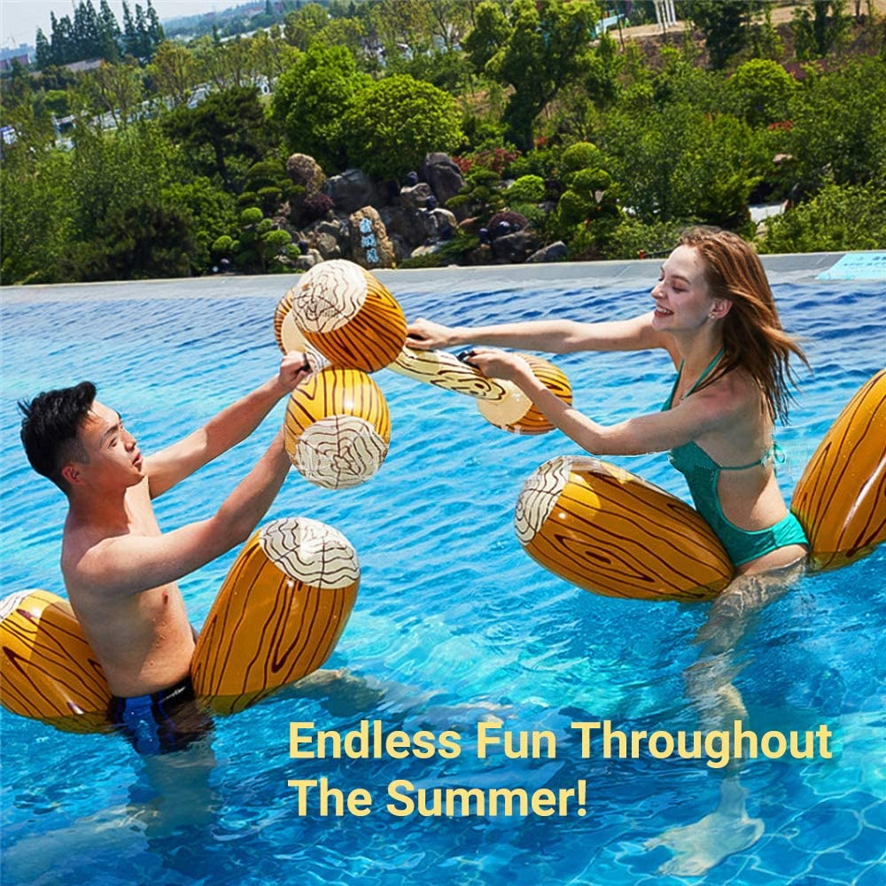 MoKo Inflatable Swimming Pool Float Raft Floating Lounger Seat Boat Floating Row Toys with Paddles for Kids /& Adults Max Weight 143lbs Wood Grain 2 Pack Fun Float Canoe Ride On Pool /& Beach Toy