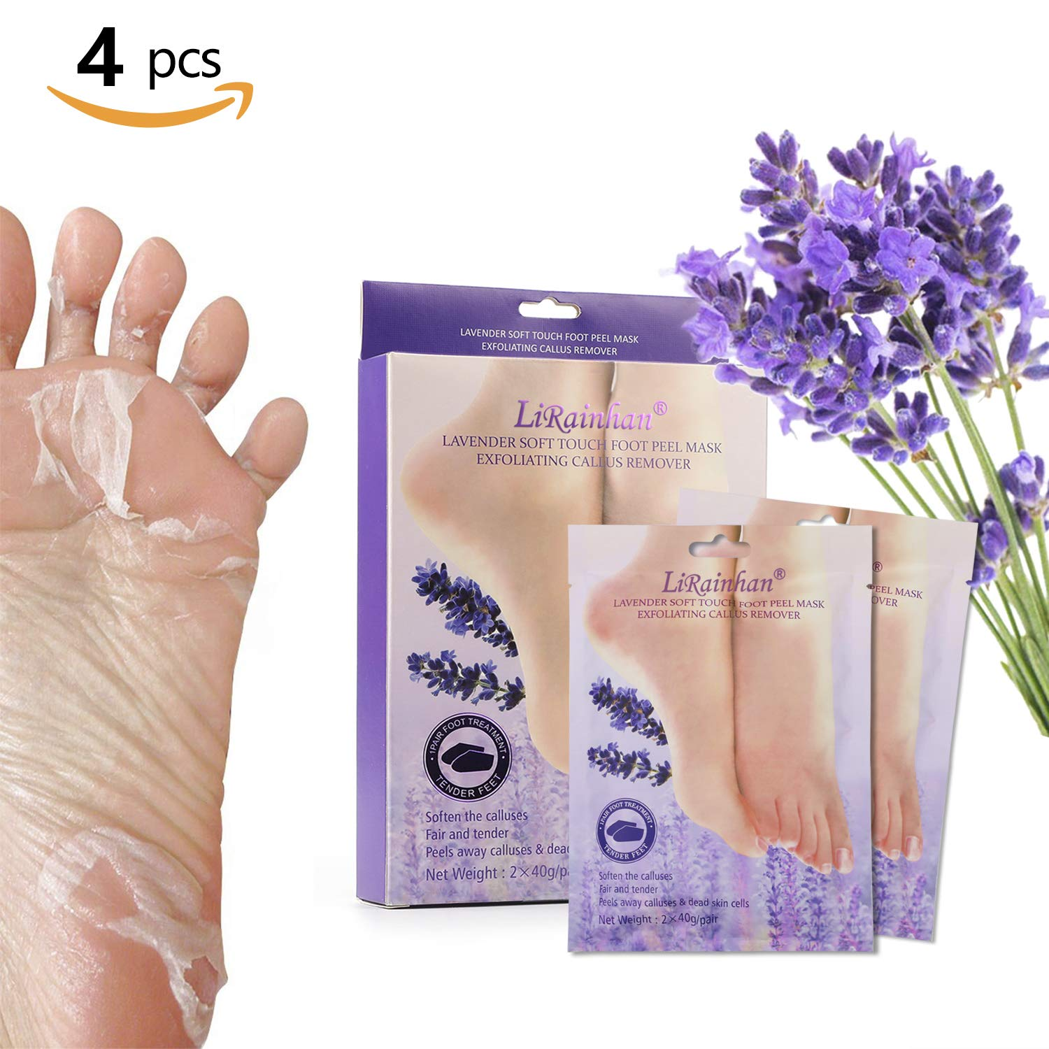 2 Pairs Exfoliating Foot Peeling Mask Socks, Phogary Moisturizing Lavender Scented Peel Booties for Callus Dead Skin Repair Cracked Heels get Soft Baby Feet