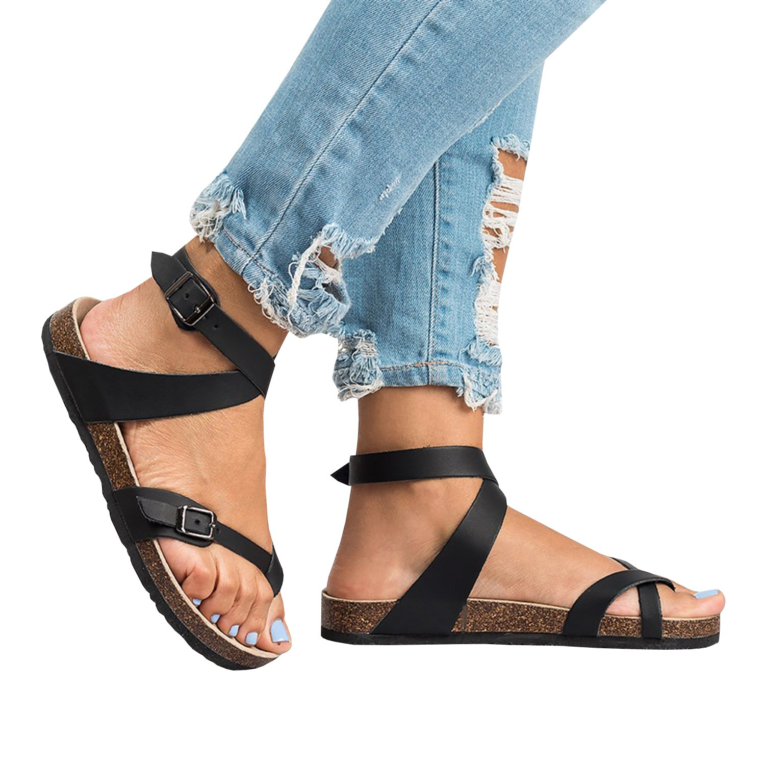 Womens Thong Strappy Gladiator Flat Sandals Summer T Strap Ankle Strap Buckle Cork Sole Flip Flops by Syktkmx