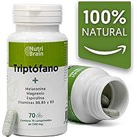 Natural Triptófano con Melatonina y Espirulina | 70 Comprimidos | Fórmula natural para mejorar el sueño