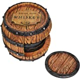 5pc Whiskey Barrel Drink Coasters Unique - Bar Decor and Accessories Beer Coaster - Home Decorations for Dining Room Drink Co