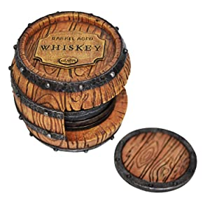 Whiskey Barrel Drink Coasters Unique - Bar Decor and Accessories Beer Coaster - Home Decorations for Dining Room Drink Coasters - Modern House Decor Coaster Set with Holder Cute Kitchen Decor Man Cave