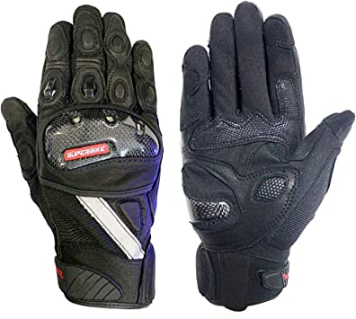Leather Motorcycle Moto GP Gloves Carbon Fiber Shell Ride Bike Protective Gloves