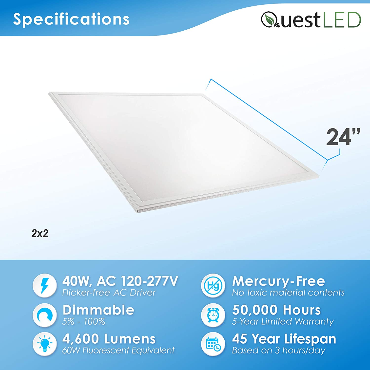 Amazon.com: 2x2 LED Flat Panel Light Ultra Thin Commercial and Residential Drop Ceiling Fixture Edge-Lit Dimmable 40W, 3500K, 120V-277V, 4600 Lumnes, ...