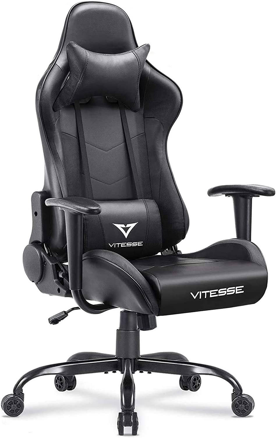 VIT Computer Gaming Chair Racing Style High-Back PC Chair Ergonomic Office Desk Chair Swivel E-Sports Leather Chair with Lumbar Support and Headrest (Carbon Fiber Black)
