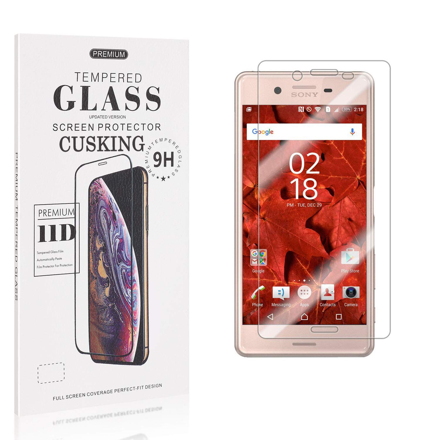 Screen Protector Compatible with Sony Xperia X Performance Bubble Free High Transparency Tempered Glass 1 Pack CUSKING 9H Hardness Screen Protector for Sony Xperia X Performance