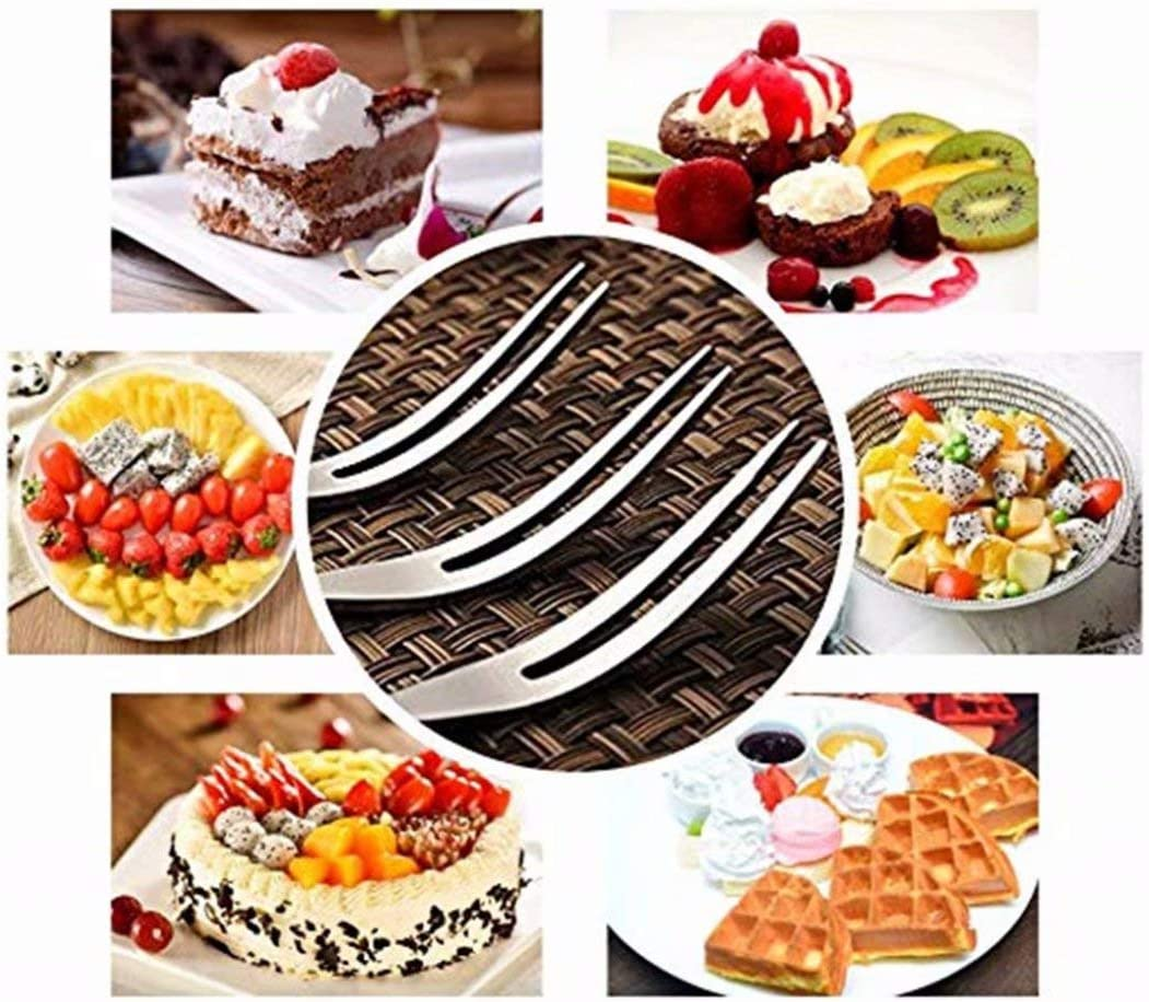5Pcs Mini Dessert Forks Stainless Steel Salad Fruit Cocktail Home Party Wedding
