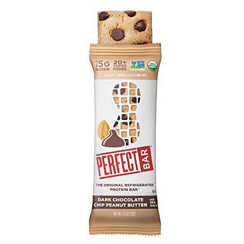 Perfect Bar Original Refrigerated Protein Bar, Dark Chocolate Chip Peanut Butter, 2.3 Ounce Bar, 8 Count