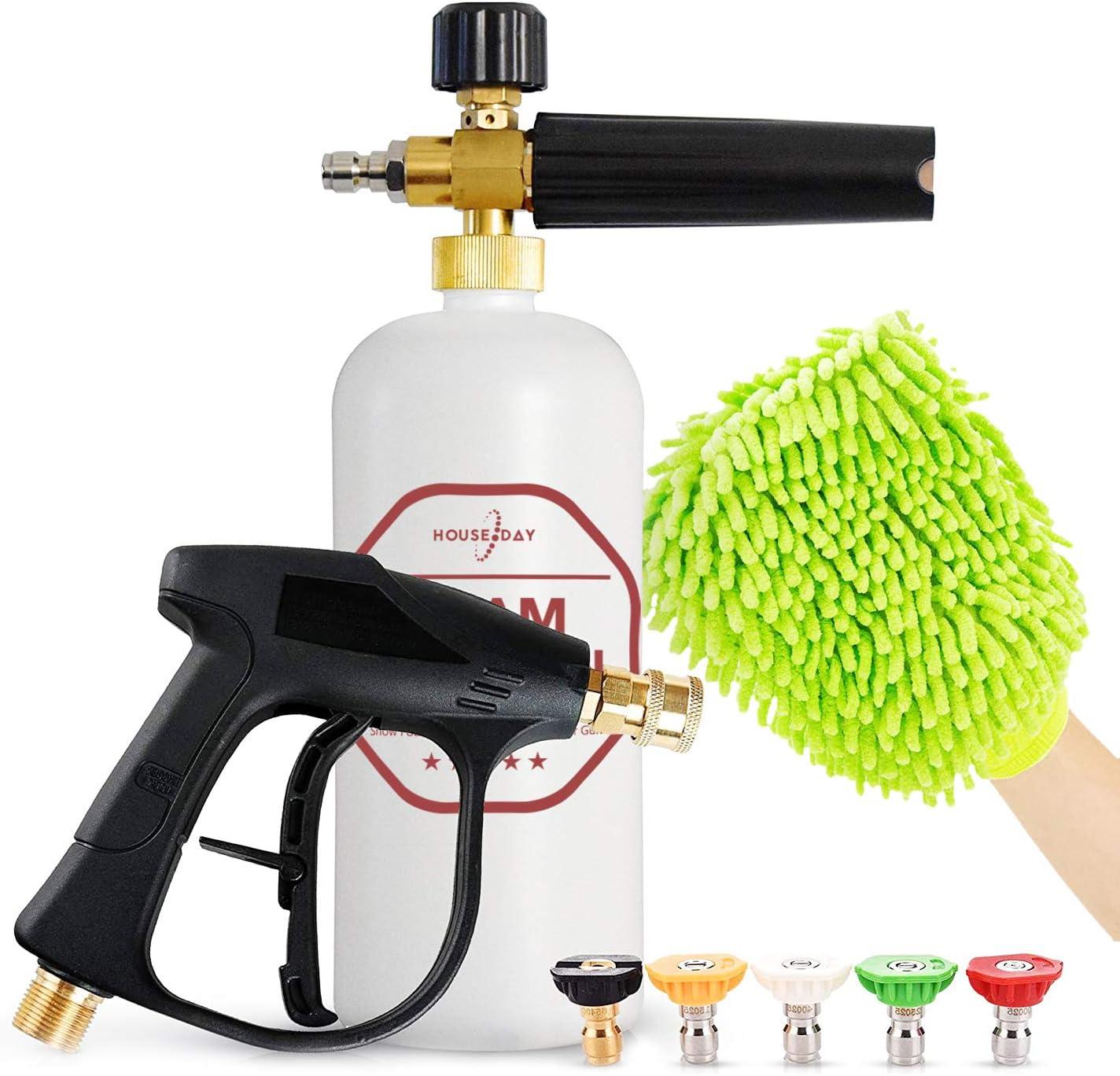 HOUSE DAY Foam Cannon Gun Kit Pressure Washer Foam Cannon Snow Foam Lance 1/4
