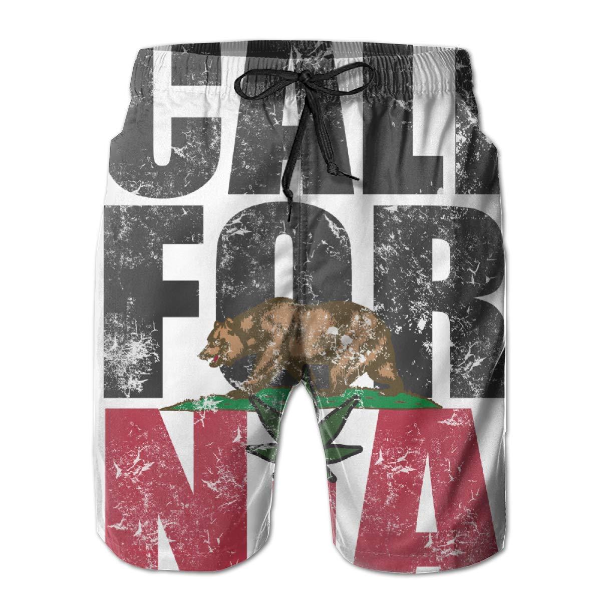 RYHT California Mens Summer Beach Quick-Dry Surf Swim Trunks Boardshorts Cargo Pants
