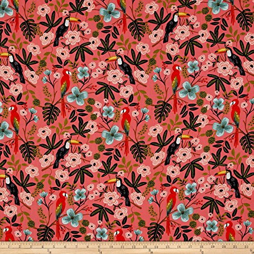 Cotton + Steel Rifle Paper Co. Menagerie Rayon Lawn Paradise Garden Coral Fabric by The Yard