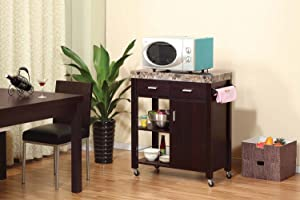 Smart home Faux Marble Kitchen Serving Cart Island (Red Cocoa)