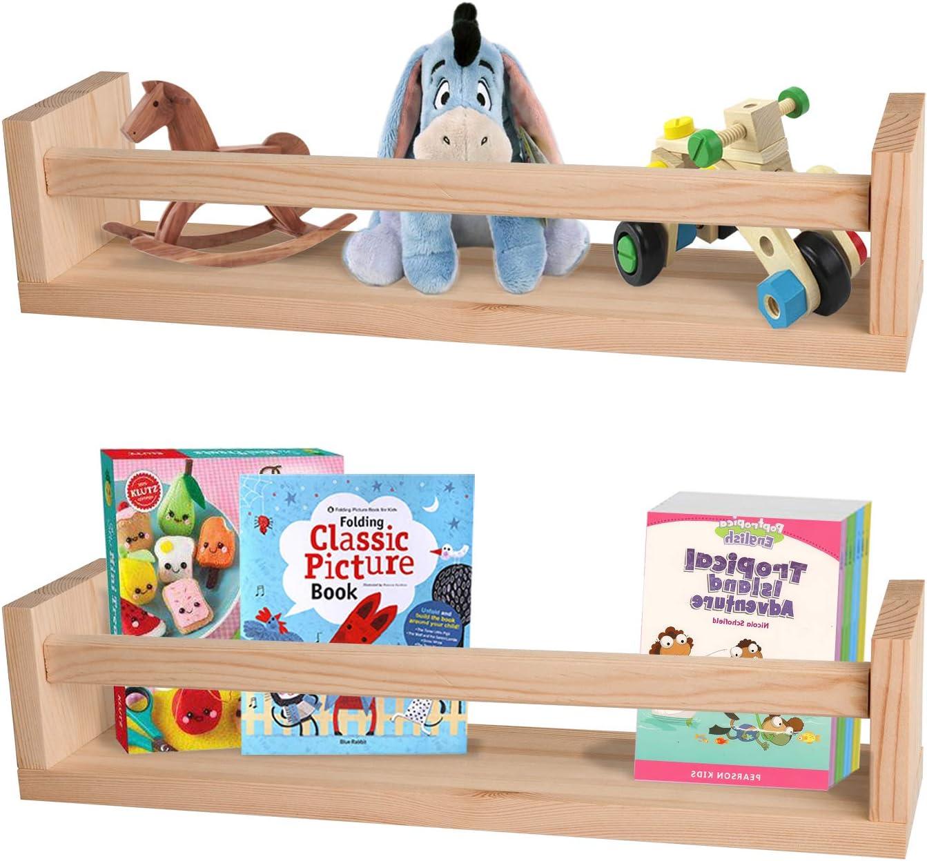 Nursery Shelves,Set of 2 Natural Wood Floating Wall Bookshelves for Kids,Nursery Book Shelves for Wall,Bathroom Decor, Kitchen Spice Rack (Natural Wood)