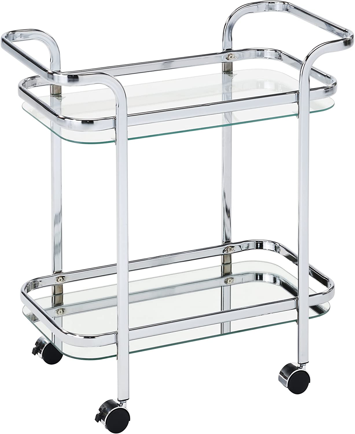 Whi 556-218CH 2 Tier Trolley, Chrome Glass