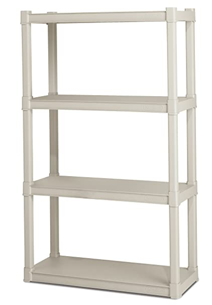 Amazon.com: Sterilite 01648501 4-Shelf Unit with Light Platinum ...