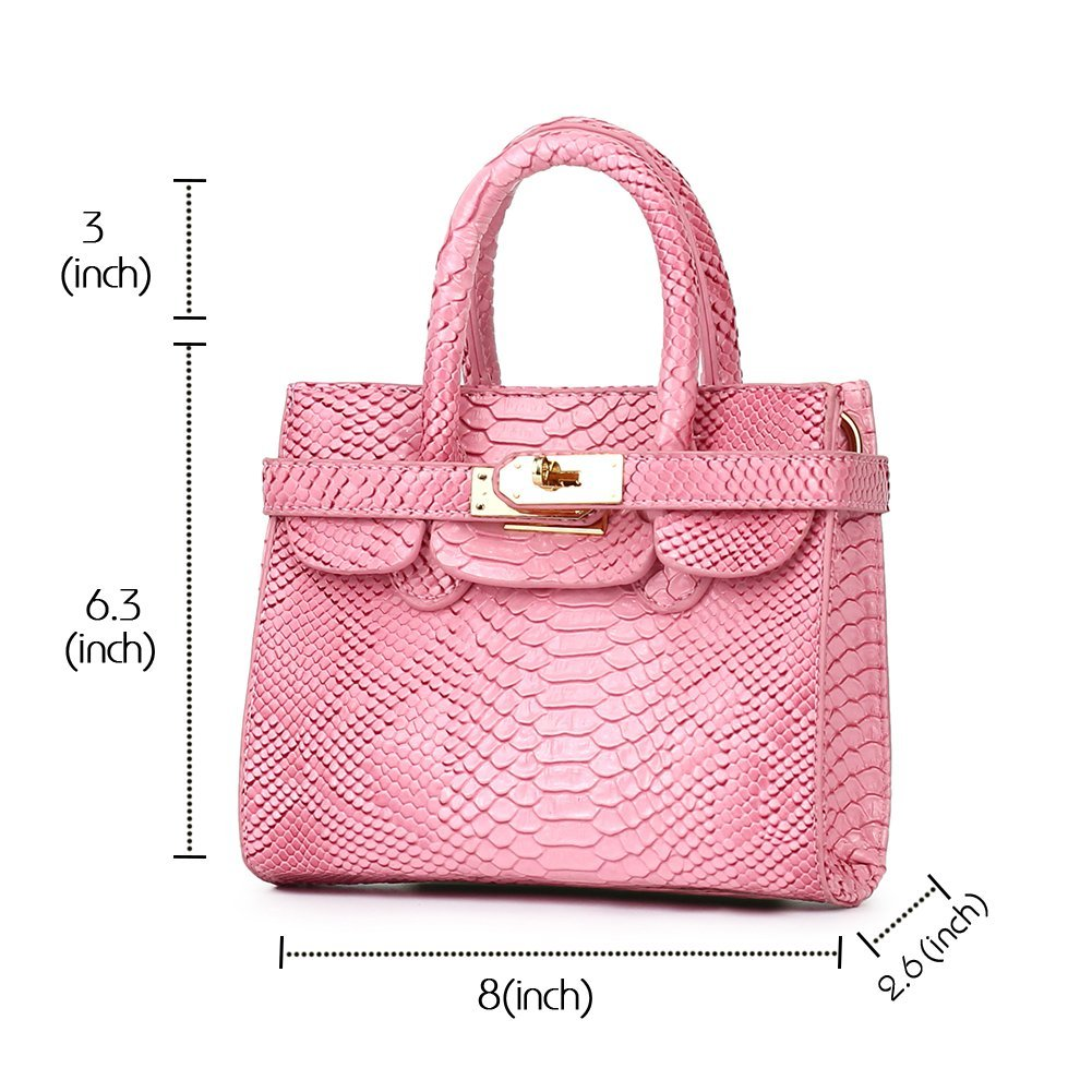 CMK Trendy Kids Colorful Python Grain Kids Crossbody Handbags for Girls with Little Rhinestone Sheep (80013_Pink) by CMK Trendy Kids (Image #5)