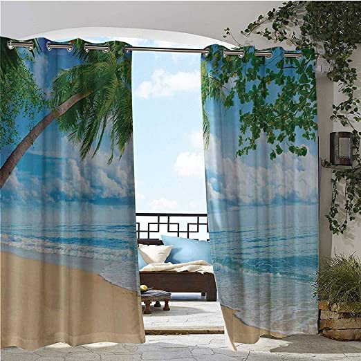 GUUVOR Cortinas opacas para exteriores, playa tropical arenosa en ...
