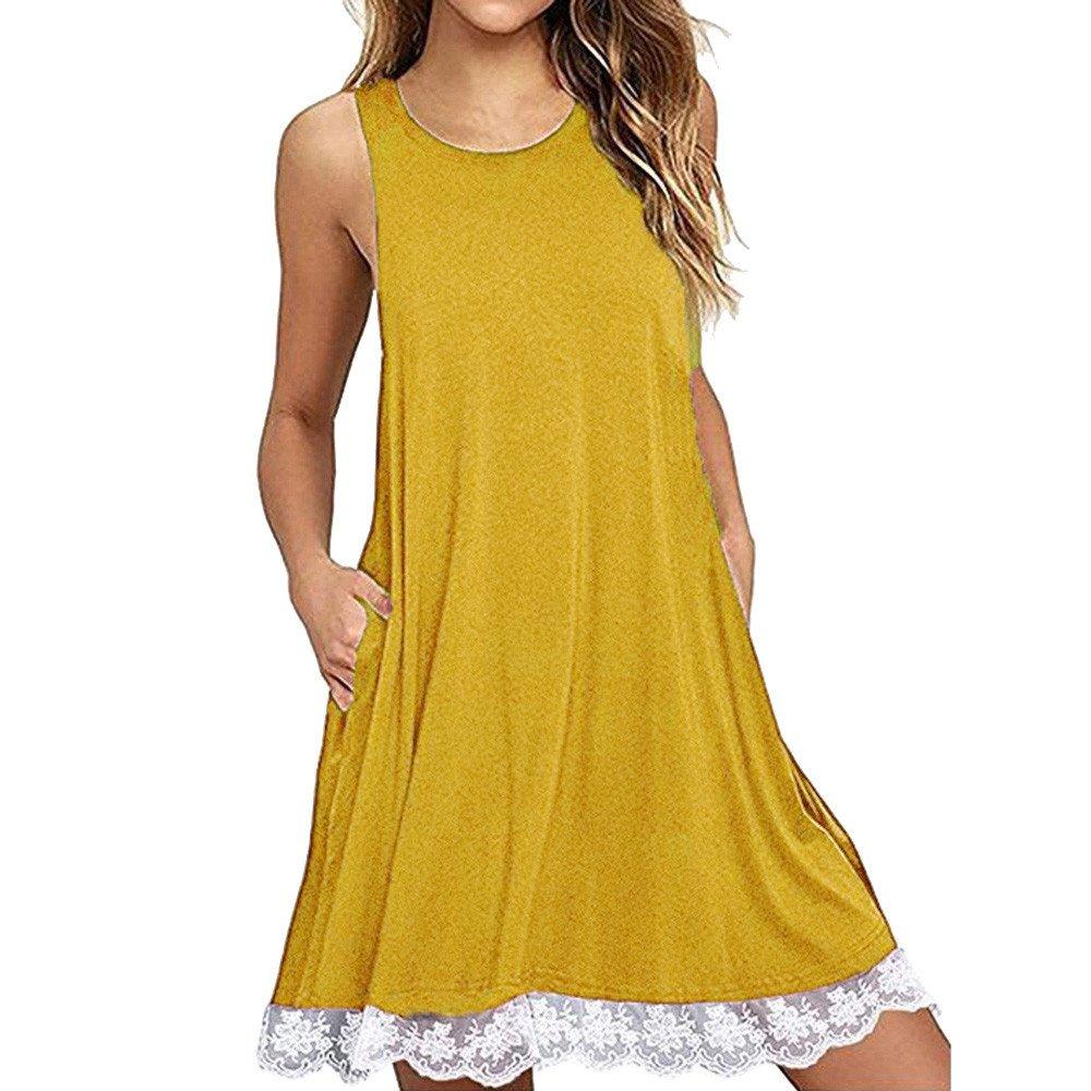 Kaitobe Women's Dresses O Neck Lace Midi Dresses Fashion Swing A-Line Dress Beach Sundress Evening Party Cocktail Yellow