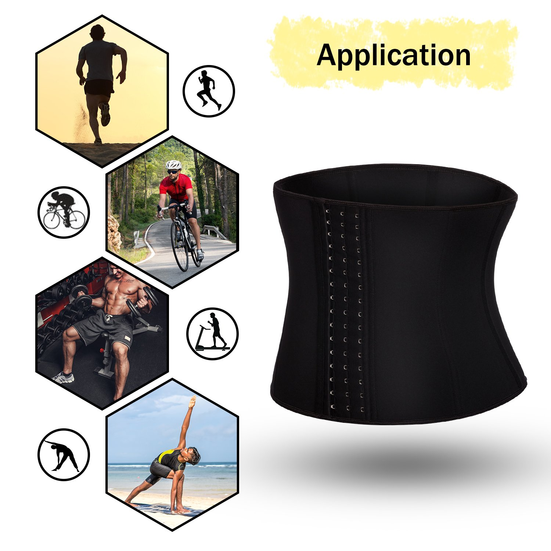 TAILONG Men Waist Trainer Belt Workout for Body Weight Loss Fitness Fat Burner Trimmer Band Back Support