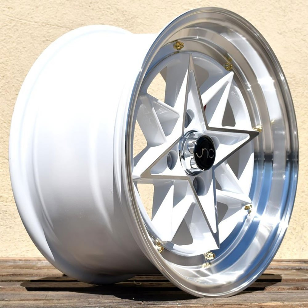 JNC Wheels 4x100//4x114.3-15x8 inch 15 JNC004 Gold Machined Lip Gold Rivet Rim