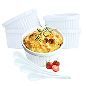 Souffle Dish Ramekins for Baking – 12 Ounce (Set of 4, White with 4 Extra Spoons) 12 Oz Ceramic Oven Safe Round Fluted Ramekin Bowl for Desserts Soups Snacks Quiche Appetizers Casserole Creme Brulee