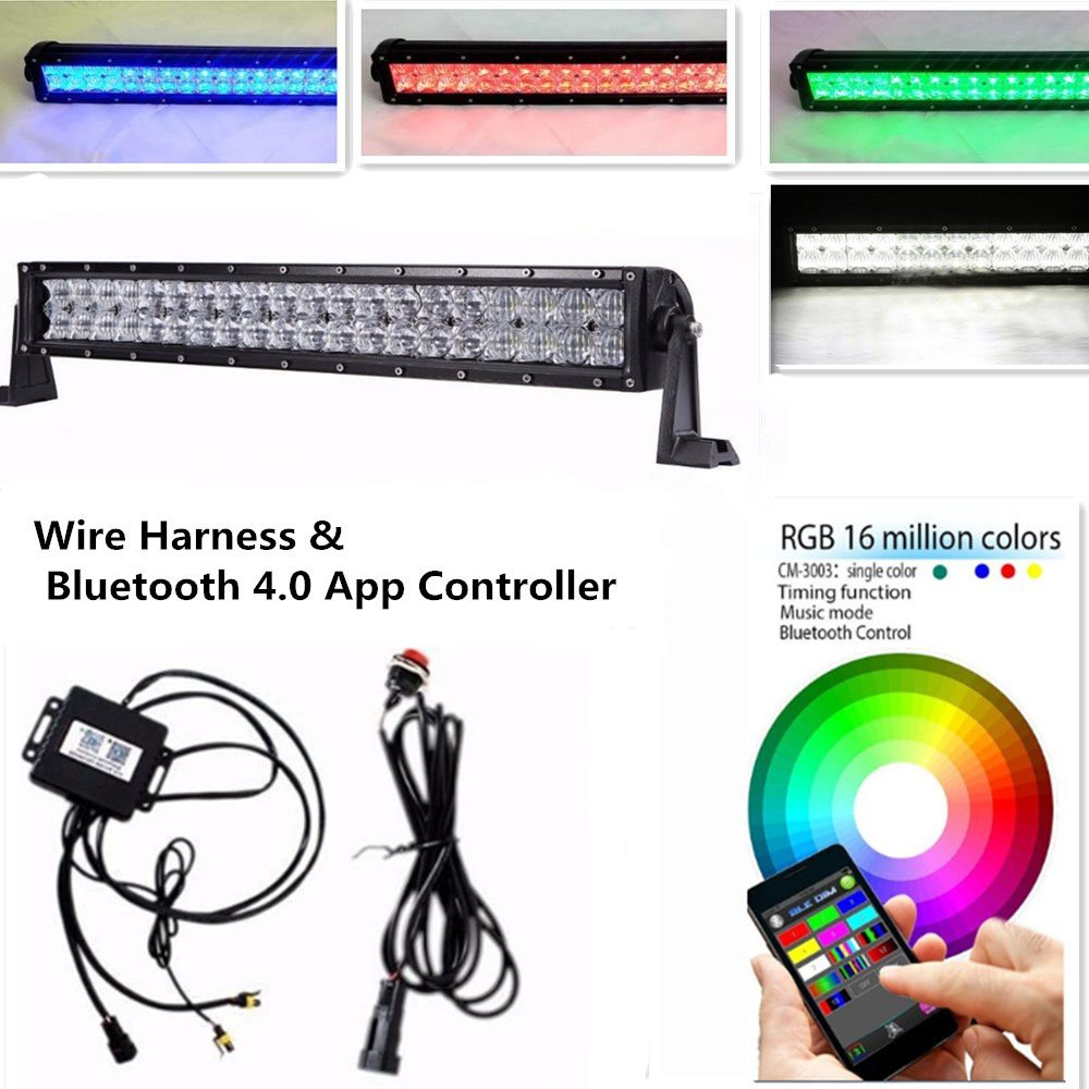"""Amazon.com: Night Break Light Curved 32"""" 180W 5D RGB Led Light Bar 5D  Optics18000LM Combo Beam Many Colors Changing by Bluetooth APP Control for  Offroad ATV ..."""