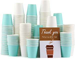 300 Pack Paper Hot Cups, 3 Oz Disposable Paper Coffee Cups,150Pack White Paper Cups+150Pack Sky Blue Hot Paper Cup for Bathroom Use,Drinks & Snacks