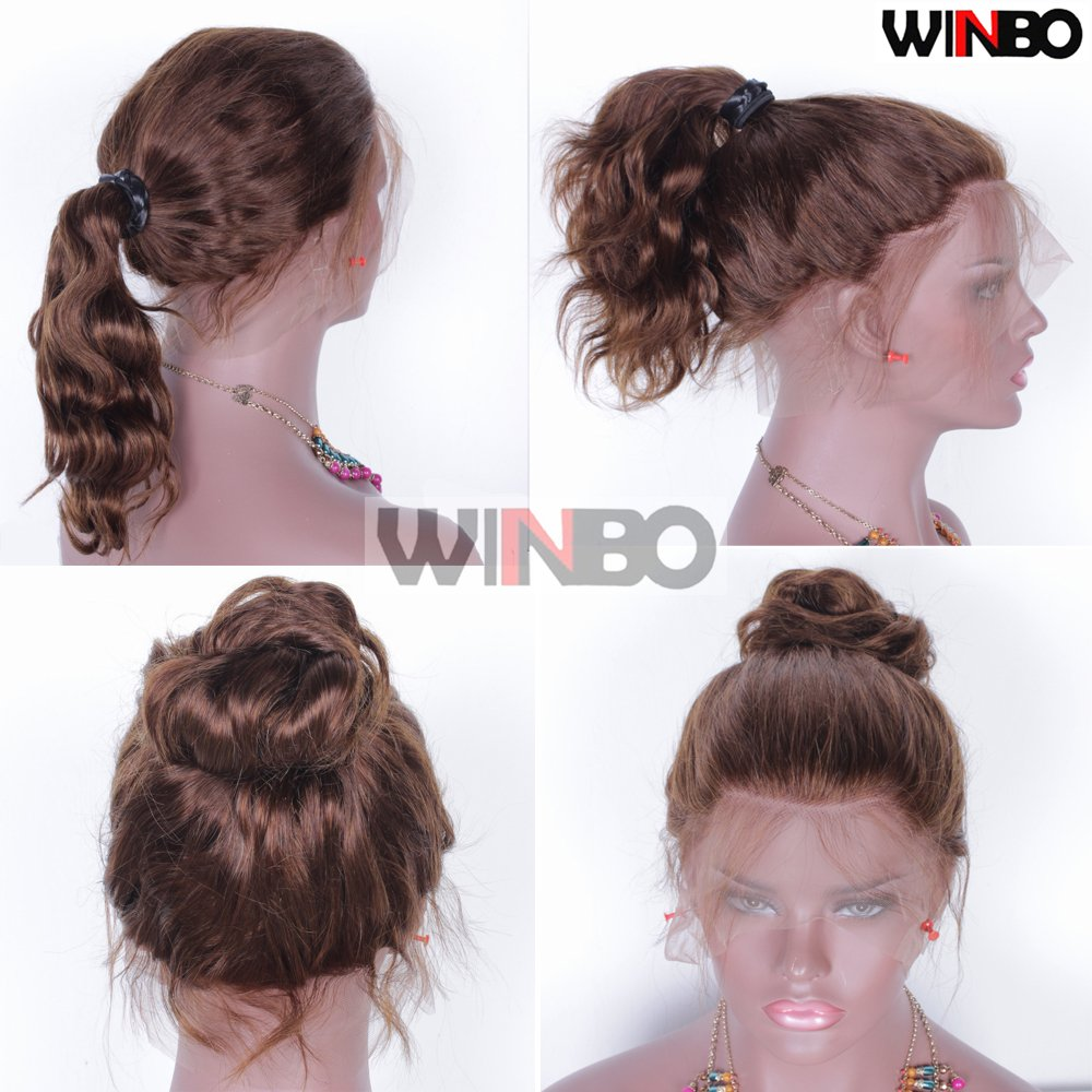 WINBOWIG 8A 150% Density Brown Color Body Wave 360 Lace Wig Brazilian Virgin Remy Human Hair Glueless Lace front Wigs Full Lace Wigs Pre-Plucked Hairline Natural Baby Hair (16 INCH, FULL LACE WIG)