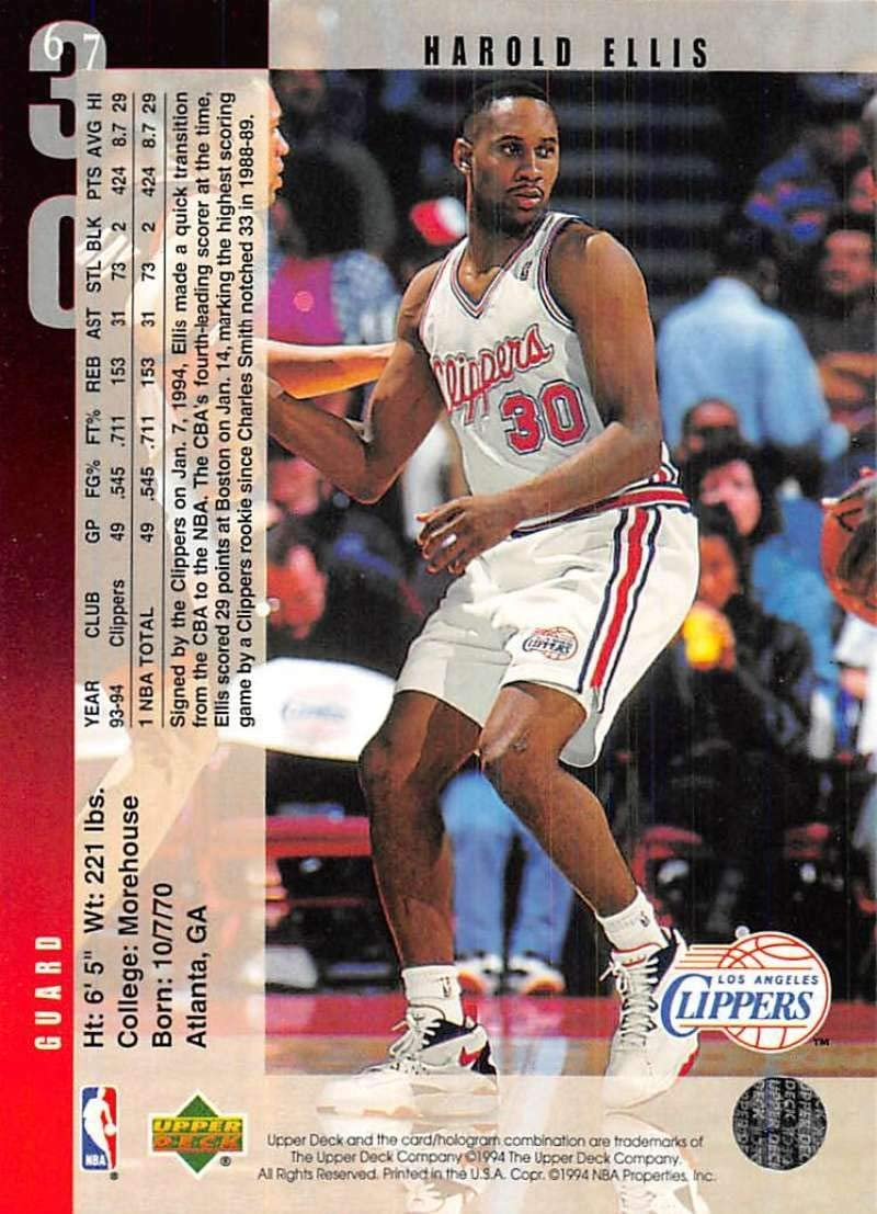 Amazon Com 1994 95 Upper Deck Basketball 67 Harold Ellis Los Angeles Clippers Official Nba Trading Card From Ud Collectibles Fine Art