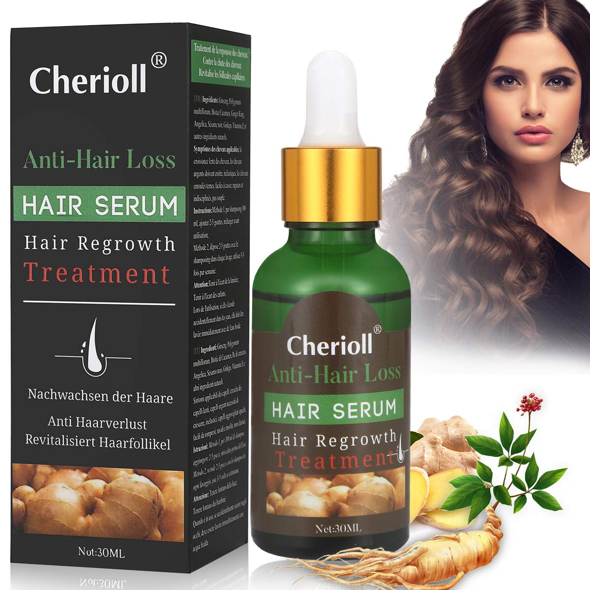 Hair Growth Serum, Hair Loss and Hair Thinning Treatment, Stops Hair Loss, Thinning, Balding, Repairs Hair Follicles, Promotes Thicker, Stronger Hair and New Hair Growth by Cherioll