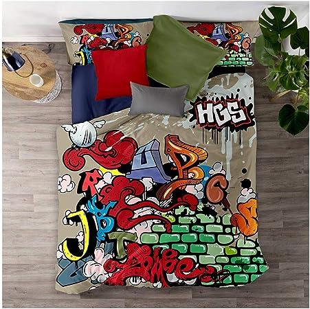 Meet Juego De Cama Graffiti De Color Hip Hop Funda Nórdica Y Funda De Almohada 80% Microfibra + 20% Algodón con Cremallera Oculta (Estilo 03,(150x200cm)-Cama de 90): Amazon.es: Hogar