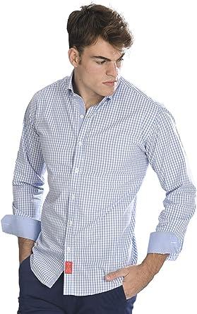 Camisa Manga Larga semientallada con Cuadros Vichy de Color Azul Celeste para Hombre: Amazon.es: Ropa y accesorios