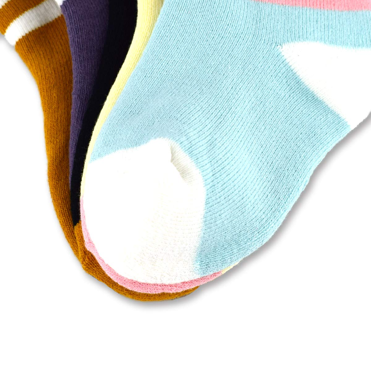 Kids Colorful Winter Soft Warm Thick Knit Cotton Crew Socks 5 Pairs For Boys Girls 4-6T