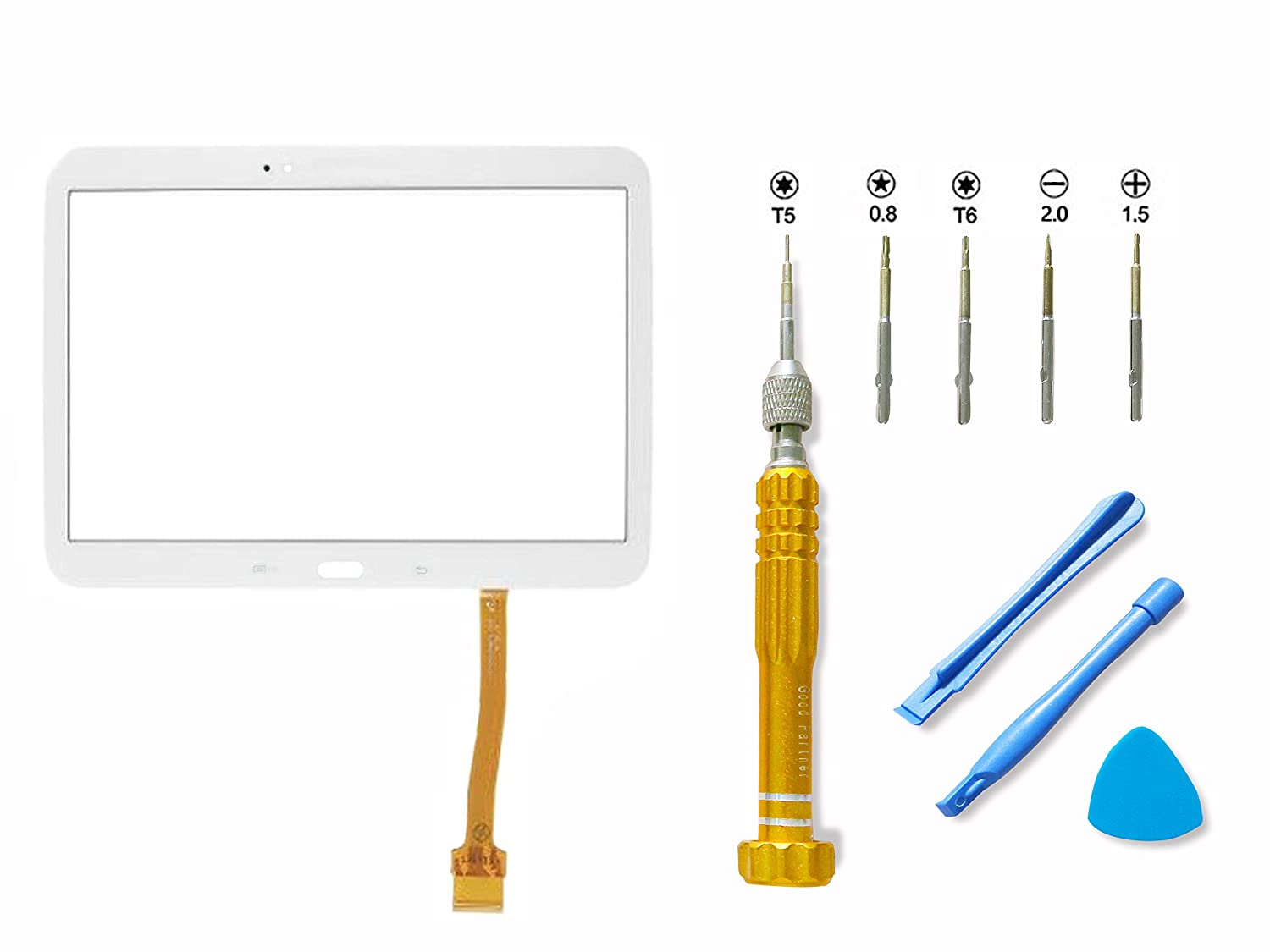 """free shipping For Samsung Galaxy Tab 3 10.1"""" P5200 Tablet Digitizer Touch Screen Panel Replacement (No LCD) with Free Repair Tools Kit Adhesive Glue, White"""