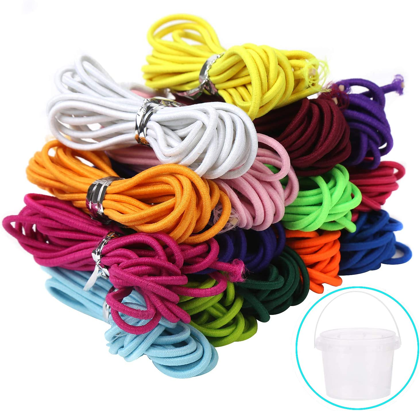 LOKIPA Elastic Cord Elastic Thread Beading String Band Cord Diameter 2mm for DIY Crafts Jewelry Making Assorted 15 Colors