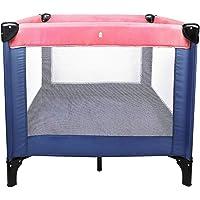 Todeco - Lit Pliable de Voyage, Parc pour Enfants - Charge maximale: 25 kg - Accessoires: (1x) Sac de transport - Standard CE, 93 x 93 x 76 cm, Rose/Bleu