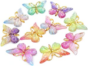 Halloluck 20 Pcs Butterfly Slime Charms Easter DIY Craft Making Resin Jewery Making Kit, Resin Flatback Slime Beads Making Supplies for DIY Scrapbooking Crafts Cell Phone Case Making