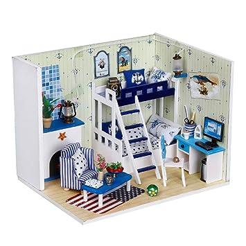 Amazon Com Bestoyard Diy Wooden Miniature Dollhouse Kit With