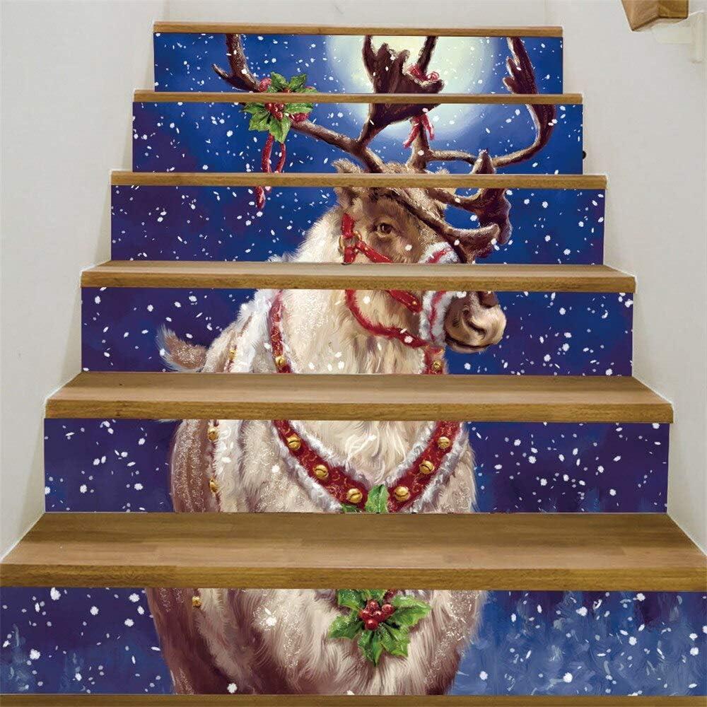 Pegatinas Para Escaleras Escalera De Navidad 6 Unids Escalera Riser Etiqueta Engomada Del Piso Diy Tatuajes De Pared Escaleras Calcomanía Adornos De Navidad Para El Hogar A: Amazon.es: Bricolaje y herramientas