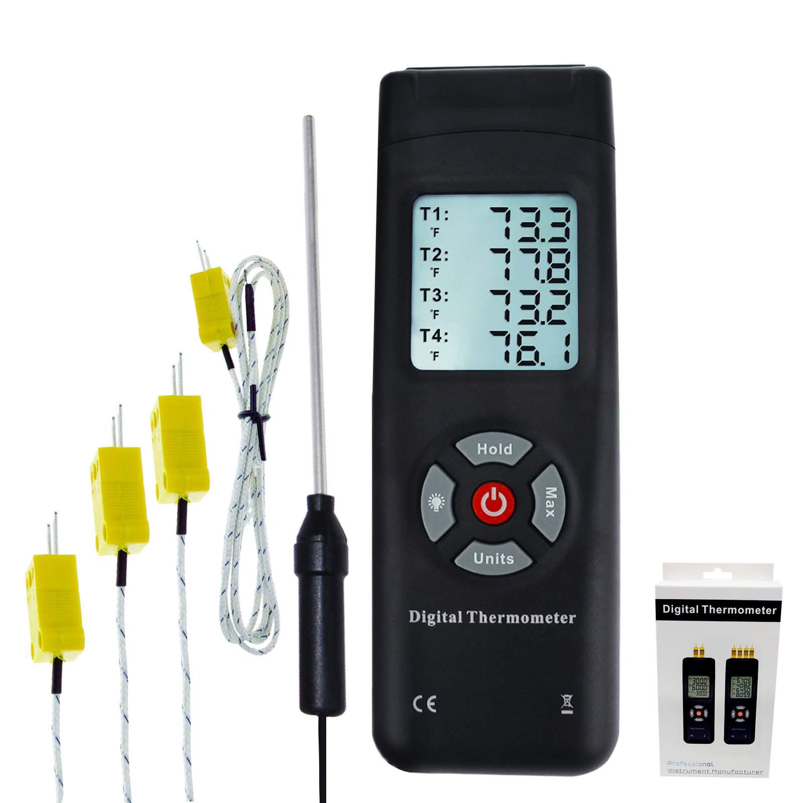 Thermometer 4 Channels K-Type Thermocouple sensor tester with K-Type Metal & Bead Probe Backlight Temperature Instrument -50~1350°C (-58~2462°F) Max/Min/Avg reading Data Log Storage Recording Function by TekcoPlus