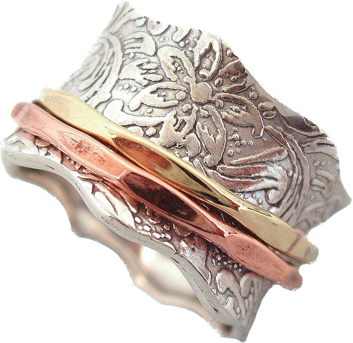Energy Stone Equilibrio y belleza - Anillo de meditación con motivo de hojas - Con aros de latón y cobre giratorios a su alrededor - Plata de ley - (Modelo 88)