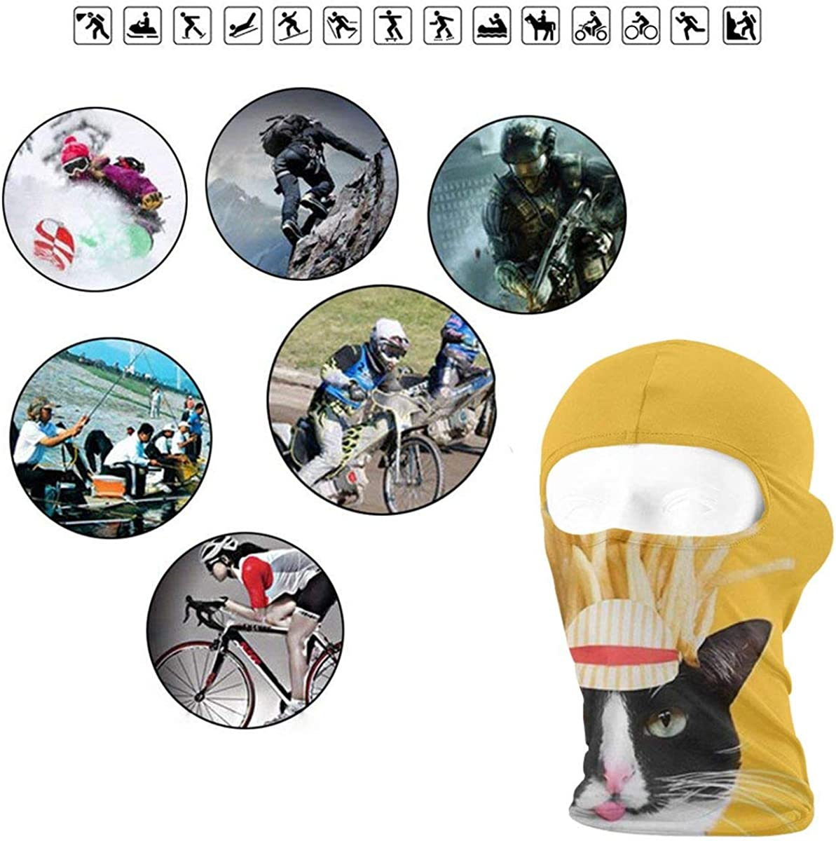 CAClifestyle Cat and French Fries Unisex Windproof Balaclavas Full Face Mask Hood