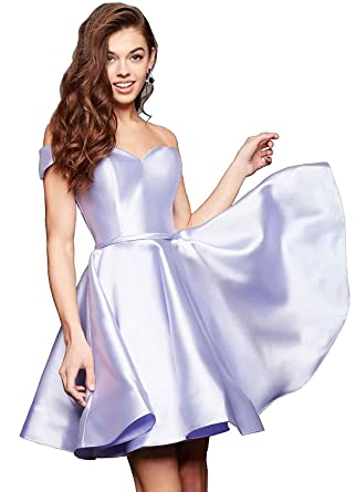 191d9810da40 Gricharim Off Shoulder Homecoming Dresses 2019 Short Satin A-Line Prom  Party Gowns Light Purple