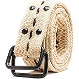 HEMOON Unisex Llanura Lienzo Tejido Militar Web Cinturón ajustable Con Anillo Doble